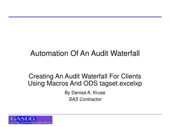 automation of an audit waterfall n.