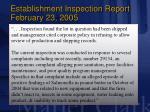 establishment inspection report february 23 200518