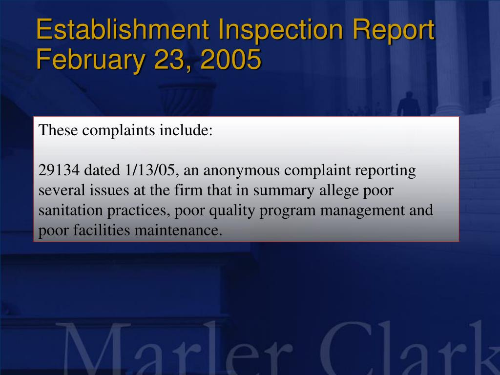 Establishment Inspection Report