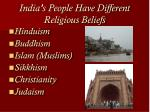 india s people have different religious beliefs
