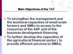 main objectives of the taf