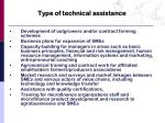 type of technical assistance