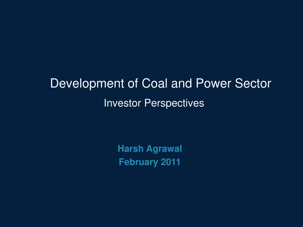 development of coal and power sector l.