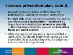 violence prevention plan cont d