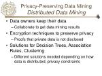 privacy preserving data mining distributed data mining