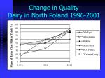 change in quality dairy in north poland 1996 2001