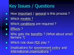 key issues questions