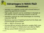 advantages in nava r d investment