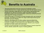 benefits to australia