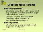 crop biomass targets