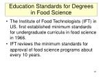 education standards for degrees in food science