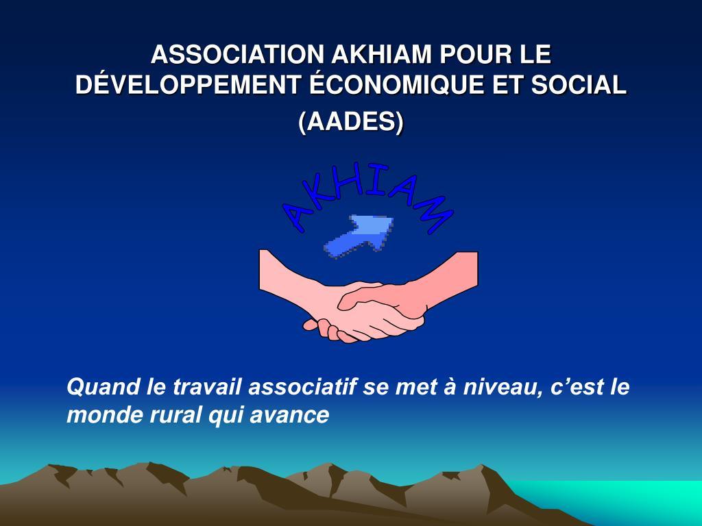 association akhiam pour le d veloppement conomique et social aades l.