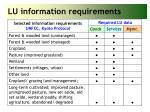 lu information requirements