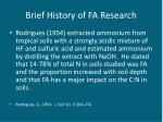 brief history of fa research
