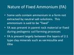 nature of fixed ammonium fa