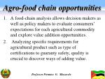 agro food chain opportunities