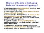 relevant criticisms of the esping andersen three worlds typology