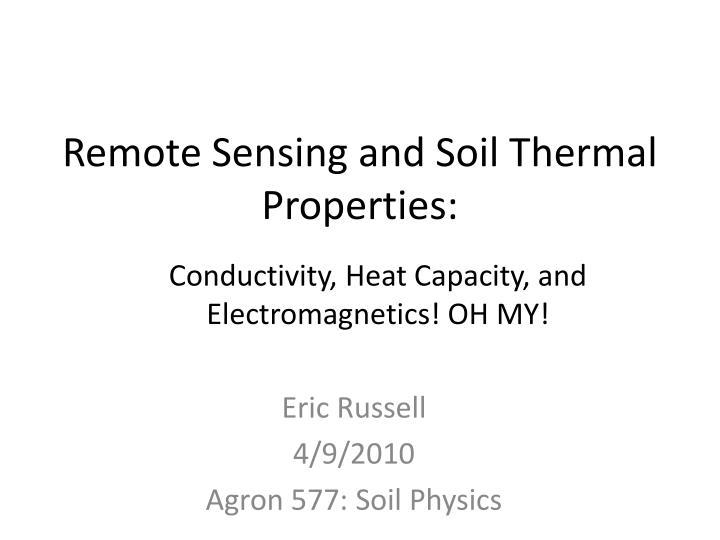 remote sensing and soil thermal properties n.
