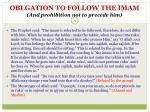 oblgation to follow the imam and prohibition not to precede him