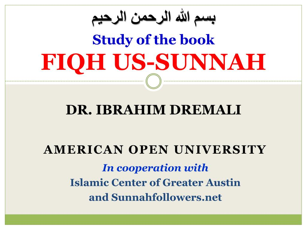 study of the book fiqh us sunnah l.