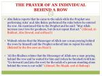 the prayer of an individual behind a row