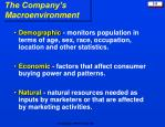 the company s macroenvironment