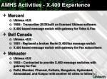 amhs activities x 400 experience