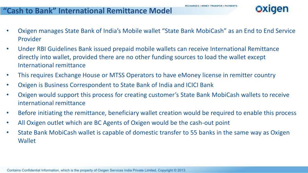 """Cash to Bank"" International Remittance Model"