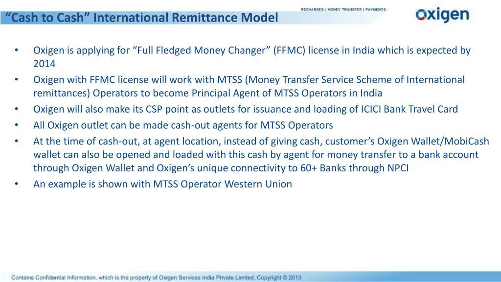 """Cash to Cash"" International Remittance Model"