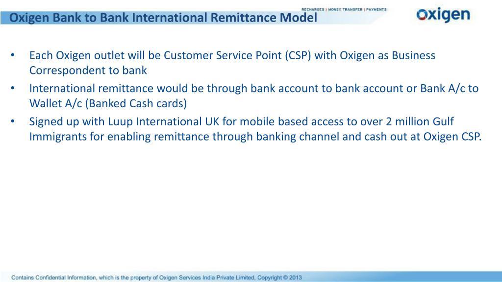 Oxigen Bank to Bank International Remittance Model