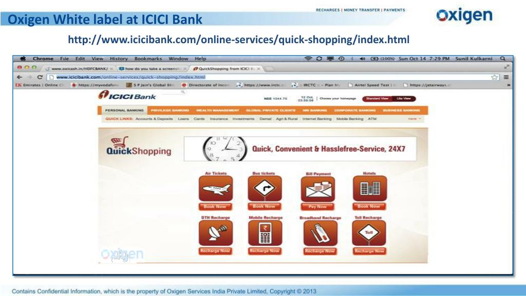 Oxigen White label at ICICI Bank