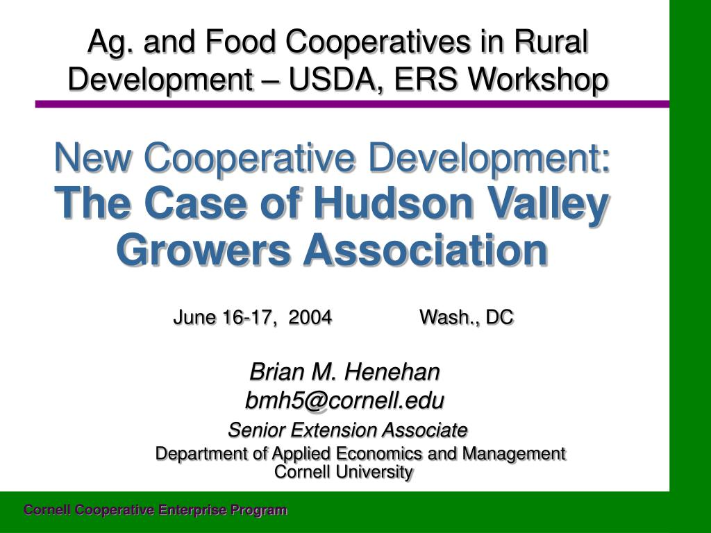 new cooperative development the case of hudson valley growers association l.