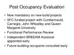 post occupancy evaluation