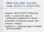 medi cal wel and ins code 14124 71 14124 791