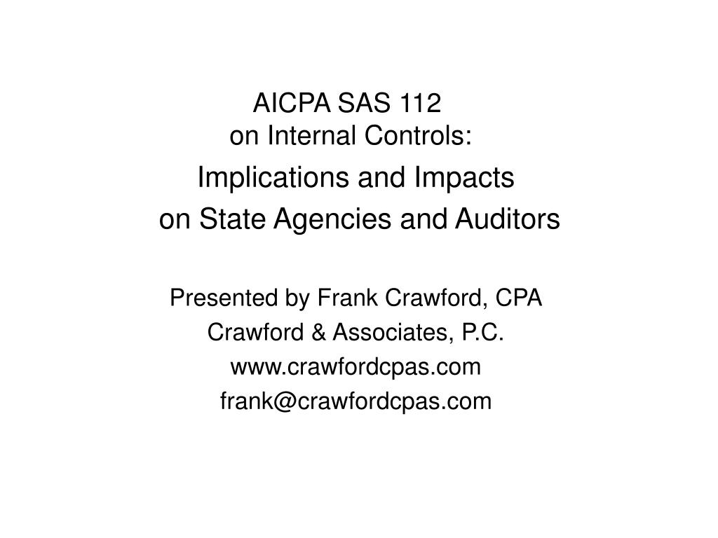 aicpa sas 112 on internal controls l.