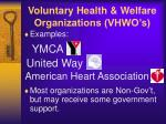 voluntary health welfare organizations vhwo s