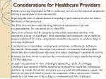 considerations for healthcare providers