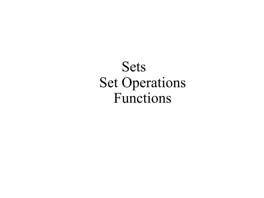 sets set operations functions l.