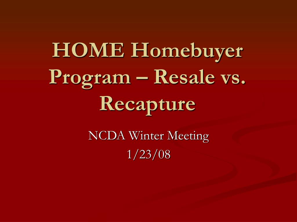 home homebuyer program resale vs recapture l.