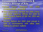 consequential amendments repeal savings of acts