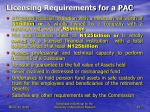 licensing requirements for a pac