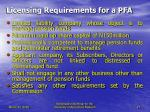 licensing requirements for a pfa
