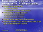 transitional arrangements for private sector existing schemes25
