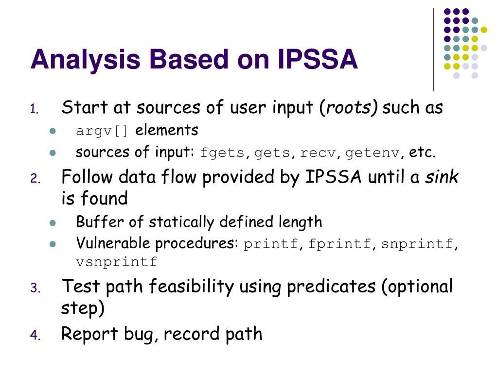 Analysis Based on IPSSA