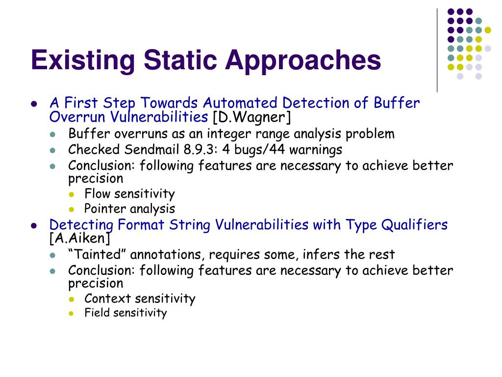 Existing Static Approaches
