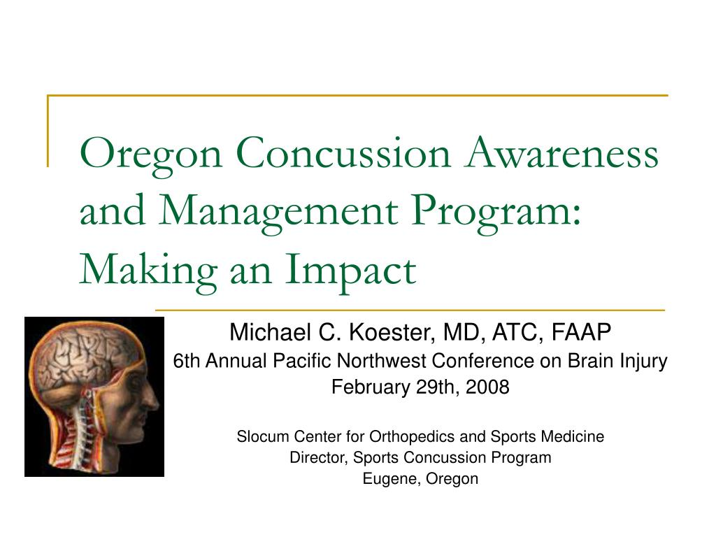 oregon concussion awareness and management program making an impact l.