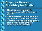 steps for rescue breathing for adults