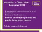 inspection ofsted view september 2009