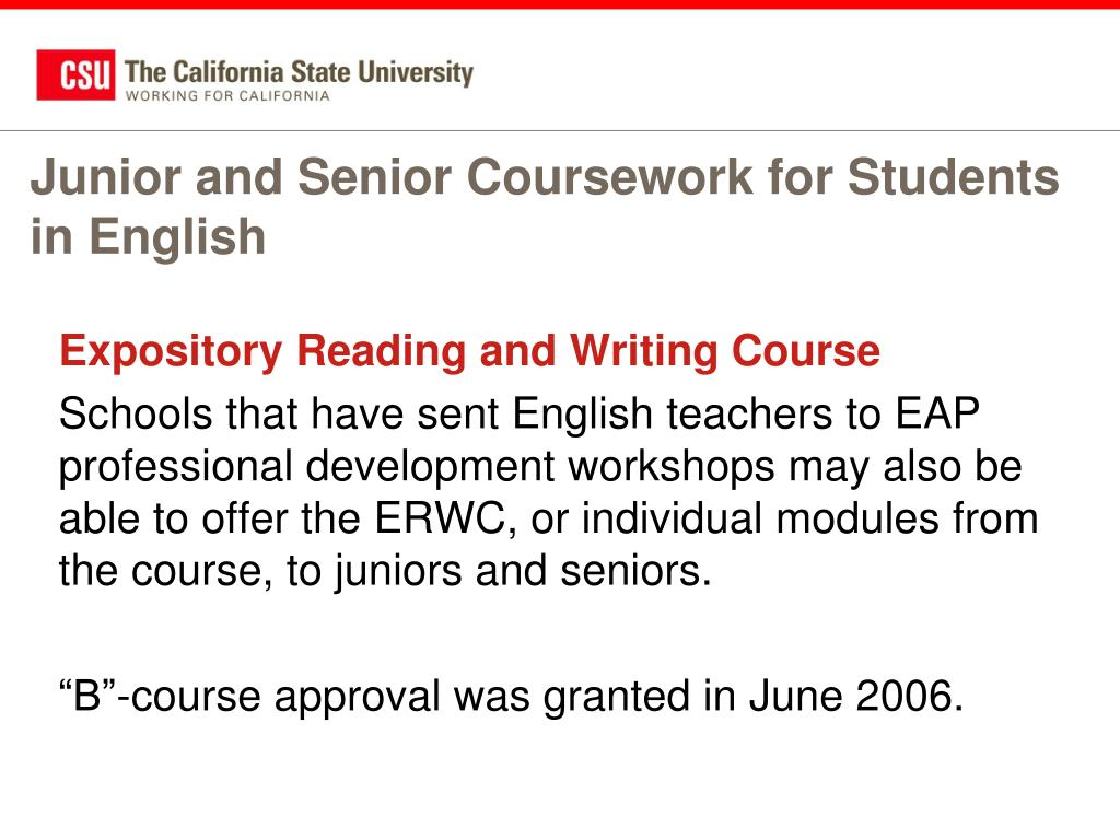 Junior and Senior Coursework for Students in English