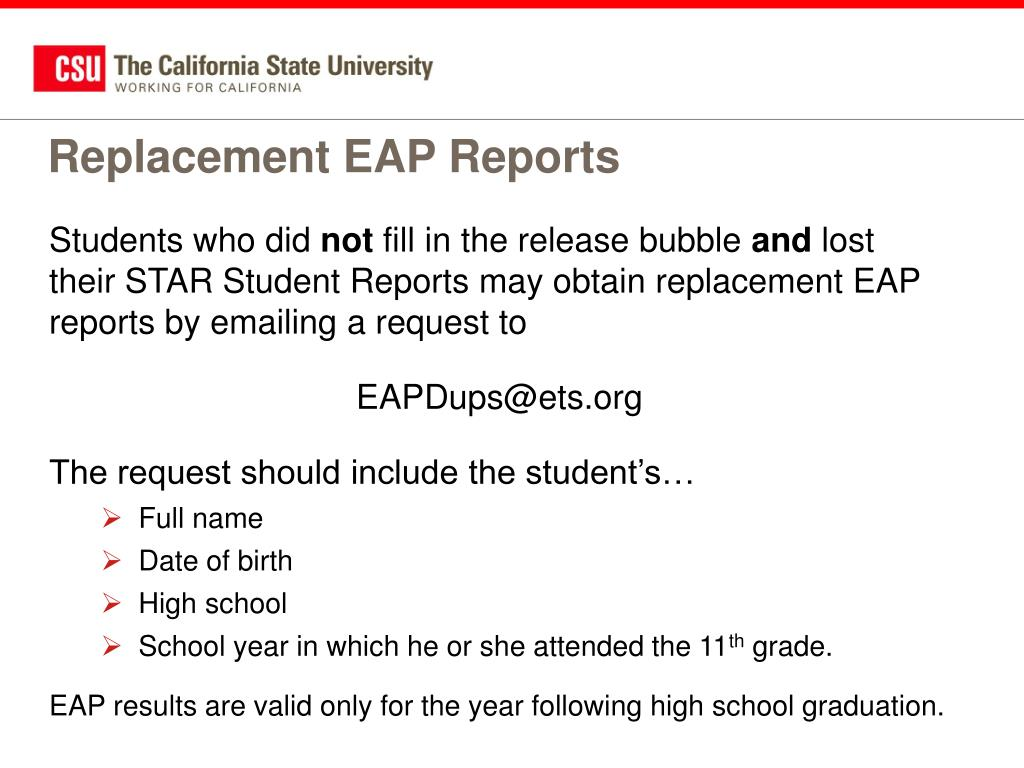 Replacement EAP Reports